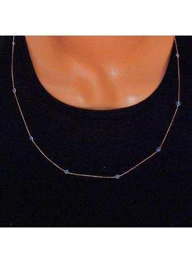 Uzun Zincirli Nazargöz Boncuklu Kolye-Söğütlü Silver